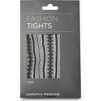 Womens Black 1 Pack Striped Pattern Tights- Black, Black