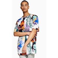 Mens Multi Oversized Collage T-Shirt, Multi