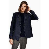 Mens Navy Double Breasted Blazer With Top Stitching, Navy