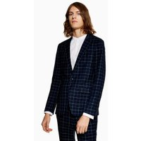 Mens Navy Check Super Skinny Blazer, Navy