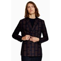 Mens Red Burgundy Check Skinny Double Breasted Blazer, Red