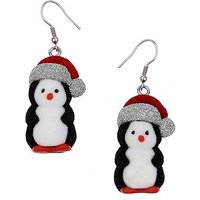 3D Penguin Drop Earrings
