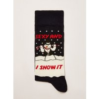 Mens Navy Christmas 'Sexy And I Snow It' Socks, Navy