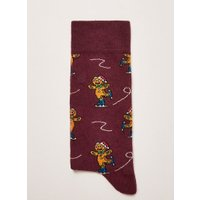 Mens Red Christmas 'Gingerbread Skate' Socks, Red