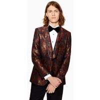 Mens Red CHARLIE CASELY-HAYFORD X TOPMAN Burgundy Jacquard Blazer, Red