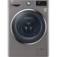 LG F4J6AM2S Freestanding Washer Dryer, 8kg Wash/4kg Dry Load, A Energy Rating, 1400rpm Spin, Shiny S