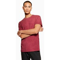 Mens Red Smoked Burgundy T-Shirt, Red
