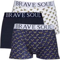 Brave Soul Mens Three Pack Boxers Navy/White/Navy