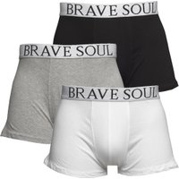 Brave Soul Mens Three Pack Boxers Black/White/Grey