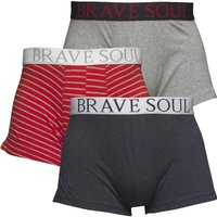 Brave Soul Mens Three Pack Boxers Denim/Light Grey Melange/Red