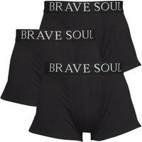Brave Soul Mens Three Pack Boxers Black/Black/Black