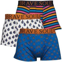 Brave Soul Mens Three Pack Boxers Multi