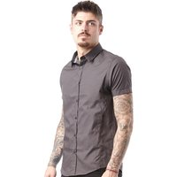 Brave Soul Mens Mombassa Short Sleeve Shirt Charcoal