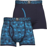 Crosshatch Mens Qubeboid Two Pack Boxers Malibu Blue/Mood Indigo