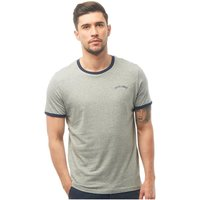 JACK AND JONES Mens Malta T-Shirt Light Grey Marl/Navy