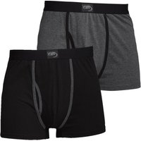 Kangaroo Poo Mens Two Pack Boxers Black/Charcoal Marl