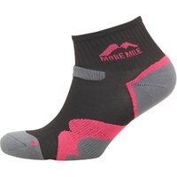 More Mile Womens Oregon Trail Cushioned Running Socks Black/Pink