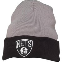 Mitchell & Ness Mens Brooklyn Nets 2 Tone Cuff Knit Beanie Grey