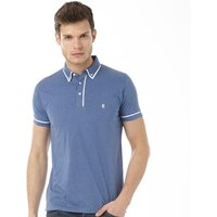 French Connection Mens Piping Polo Light Blue Melange