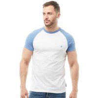 French Connection Mens Raglan T-Shirt White/Light Blue Melange