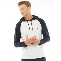 French Connection Mens Raglan Hoody White/Marine