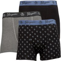 Original Penguin Mens Three Pack Boxers Black/Stripe