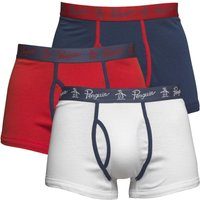 Original Penguin Mens Three Pack Boxers High Risk Red/Dark Denim/White