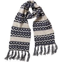 Onfire Mens Knitted Nepp Fairisle Scarf With Tassels Dark Navy/Ecru