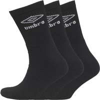 Umbro Mens Three Pack Crew Socks Black