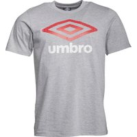 Umbro Mens Large Logo T-Shirt Grey Marl/Vermillion/White
