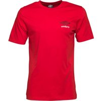 Umbro Mens Small Logo T-Shirt Vermillion/Black/White