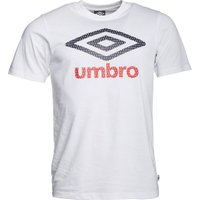 Umbro Mens Large Logo T-Shirt White/Dark Navy/Vermillion