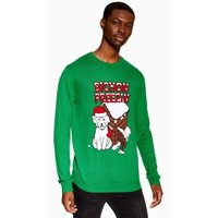 Mens Blue Christmas Bichon Freeze Jumper, Blue