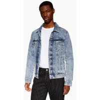 Mens Blue Embroidered Mid Wash Denim Jacket, Blue