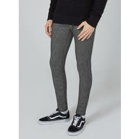 Mens Black Micro Check Spray On Trousers, Black