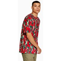 Mens Red 'Hyke' Camouflage T-Shirt, Red