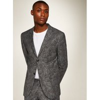 Mens Mid Grey Grey Fern Print Skinny Fit Suit Jacket, Mid Grey