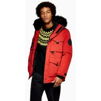 Mens Red Padded Parka Jacket, Red