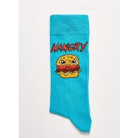 Mens Blue Turquoise 'Hangry' Socks, Blue