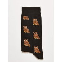 Mens Grey Charcoal 'Owl' Socks, Grey