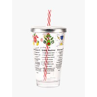 Kikkerland Smoothie Recipe Glass with Lid and Straw, 475ml