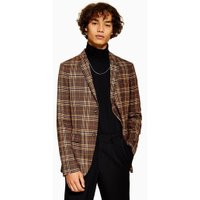 Mens Orange Brown Check Skinny Blazer, Orange