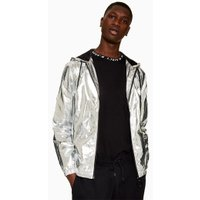 Mens Metallic Silver Zip Through Windbreaker Jacket, Metallic