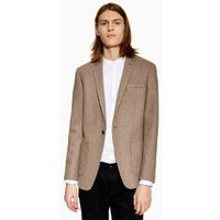 Mens Brown Warm Handle Skinny Blazer, Brown