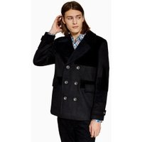 Mens Black Patchwork Pea Coat With Wool, Black