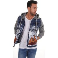 Cipo And Baxx  Printed jacket with hood  men's Denim jacket in Blue
