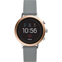 FOSSIL Q Venture FTW6016 Smartwatch - Rose Gold, Grey Silicone Strap, Gold