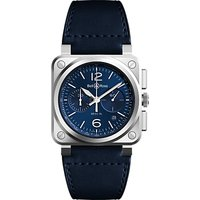 Bell & Ross BR0394-BLU-ST/SCA Men's Chronograph Leather Strap Watch, Midnight Blue