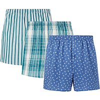 John Lewis & Partners Dragonfly/Check/Stripe Boxers, Pack of 3, Multi