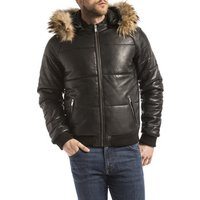 Blue Wellford  Leather down jacket  men's Leather jacket in Black